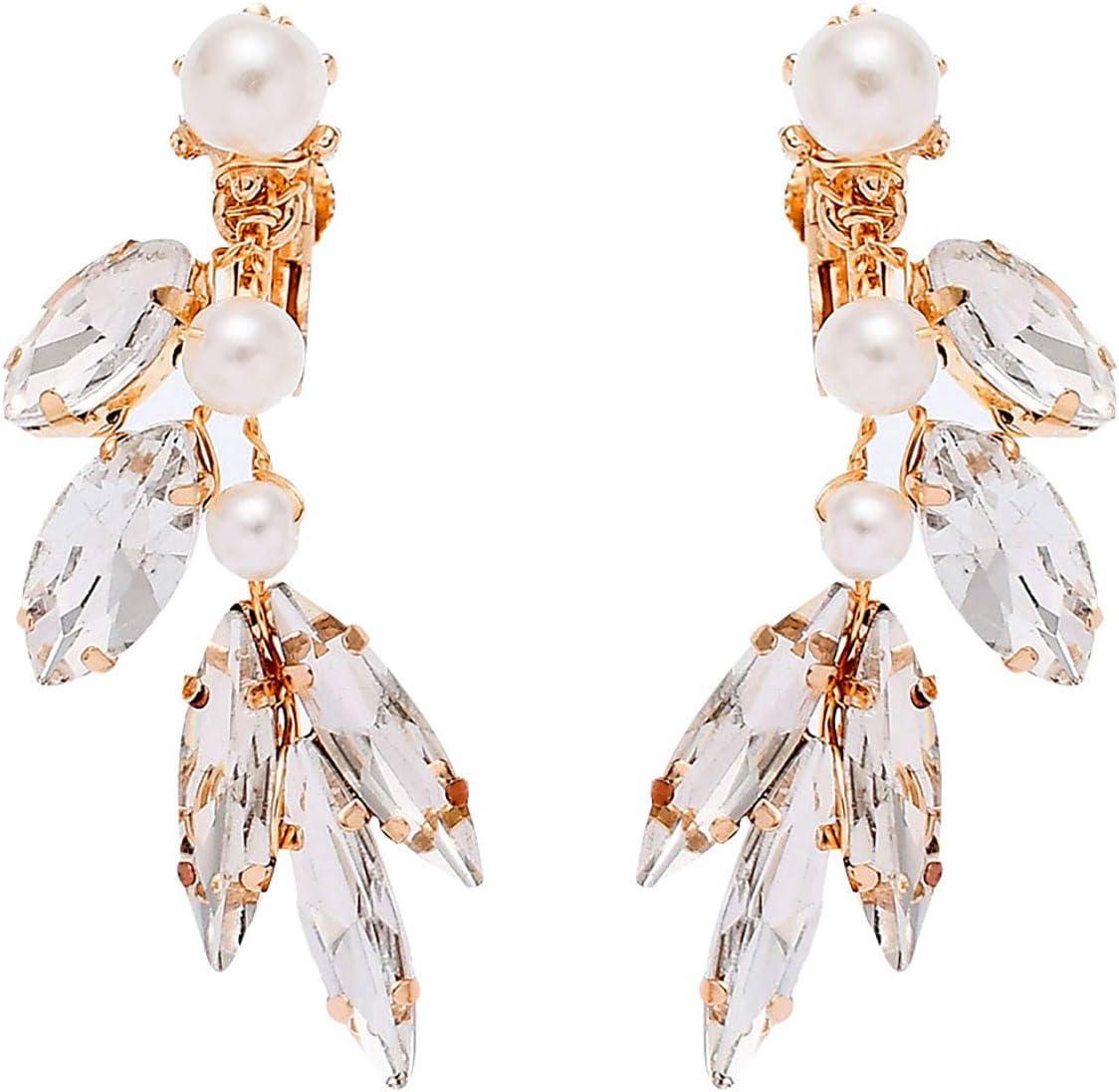 jieGorge Los Pendientes, los nuevos Pendientes de Diamantes de imitación Hechos a Mano con Forma de Ojo de Caballo Son adecuados para Bodas, Joyas para Regalos de Mujeres (D)