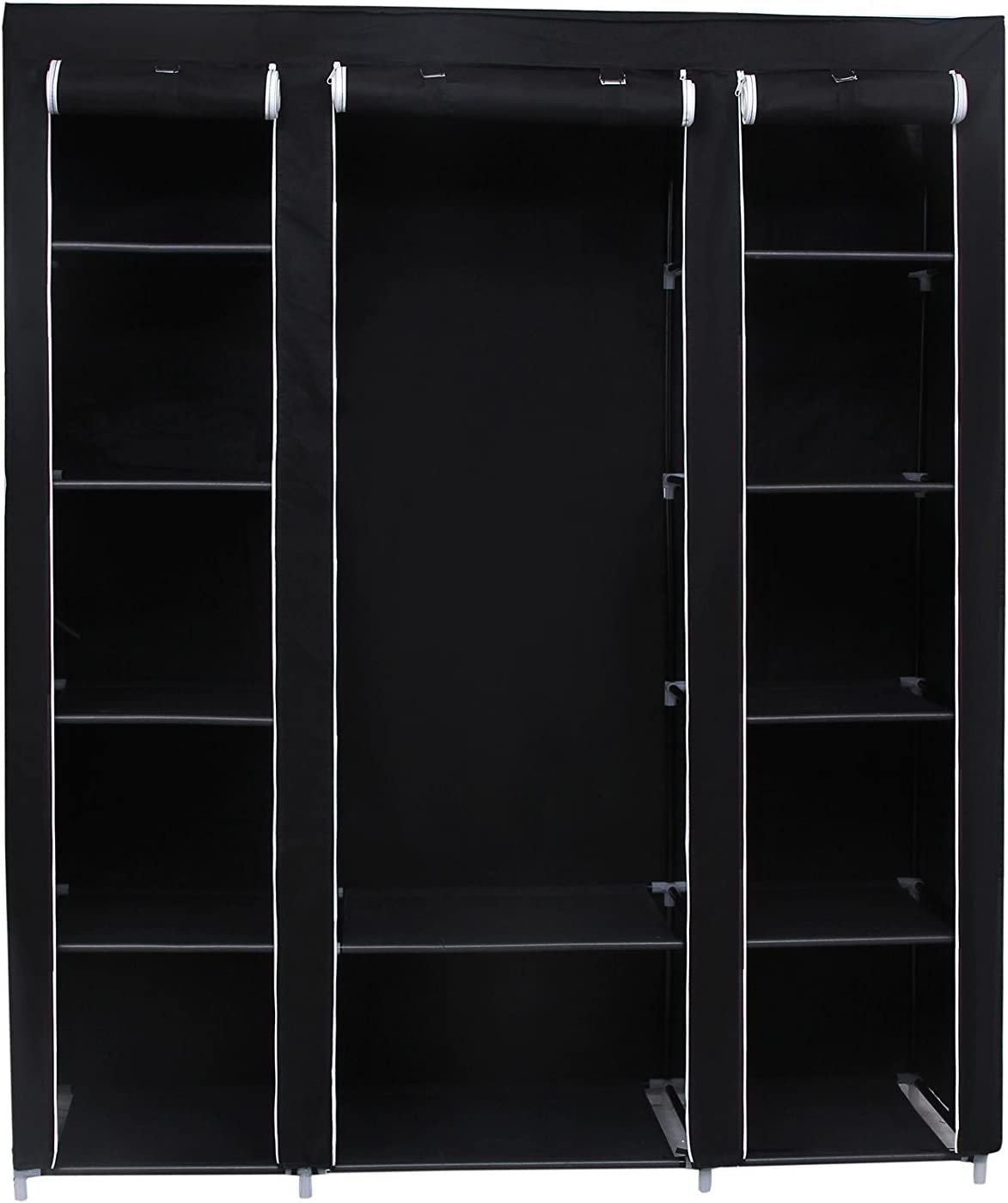 SONGMICS 59 Inch Portable Clothes Closet Wardrobe Storage Organizer with Non-Woven Fabric, Quick and Easy to Assemble, Extra Strong and Durable, Black ULSF03H (2 Pack (Black))