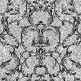 Muriva 701344 Baroque Scroll Wallpaper Roll - Silver by Muriva Ltd