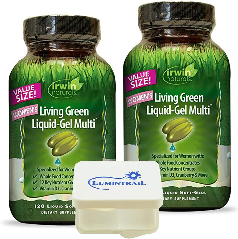 Irwin Naturals Women's Multivitamin Living Green Liquid-Gel Multi with Key Nutrients and Whole Foods - 120 Liquid Softgels (2-Pack) Bundle with a Lumintrail Pill Case