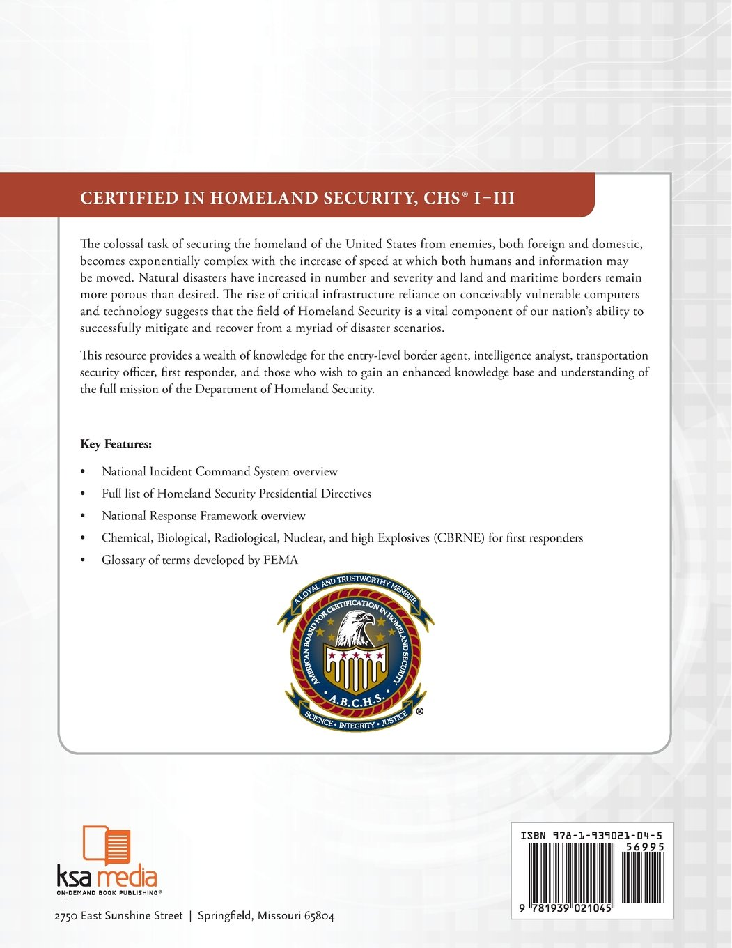 Amazon Certified In Homeland Security Chs I Iii 9781939021045