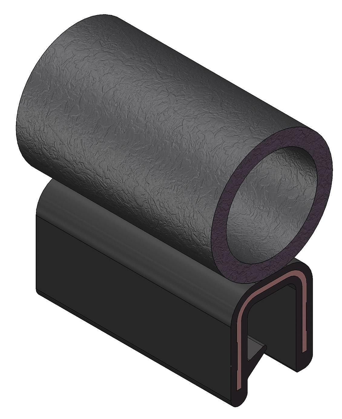 "Trim-Lok Trim Seal with Top Bulb – PVC Plastic Trim with EPDM Rubber Bulb Seal – Fits 5/32"" Edge, 5/8"" Bulb Seal Diameter, 250' Length"