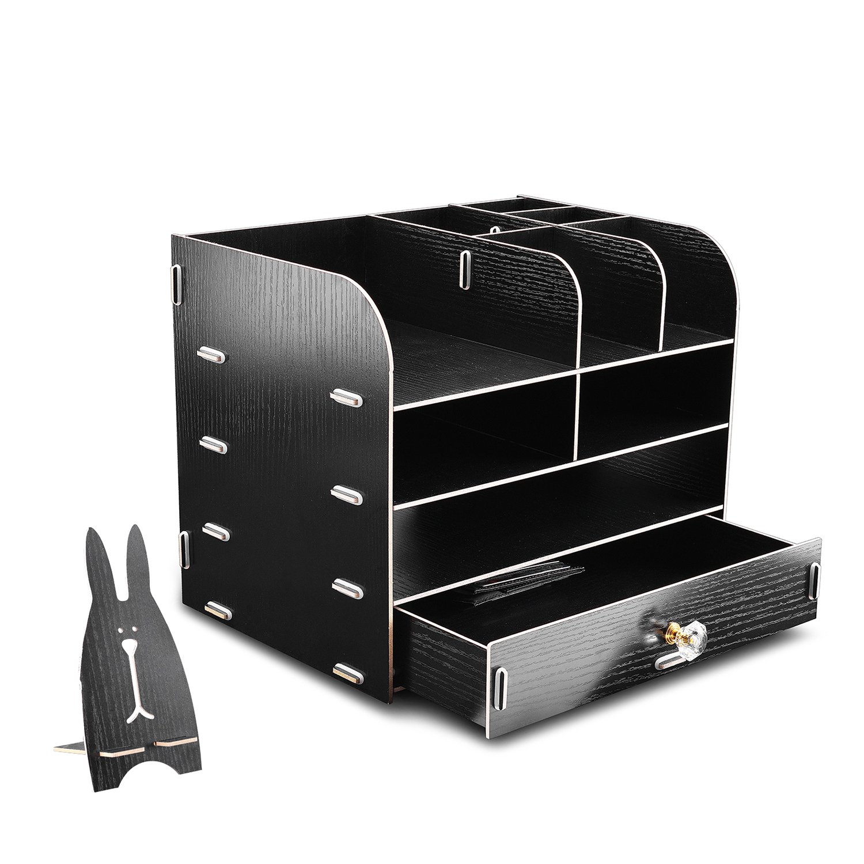 WEBO Black File Storage Box Holder Wood Files Supplies Office Supply Organizer DIY Wooden Detachable Desktop Multilayer File Frame A4/A5 Paper Magazine Document Desk Shelf