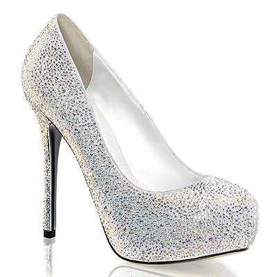 5 Inch Rhinestone Peep Toe Pumps Concealed Platform Glamour Shoes