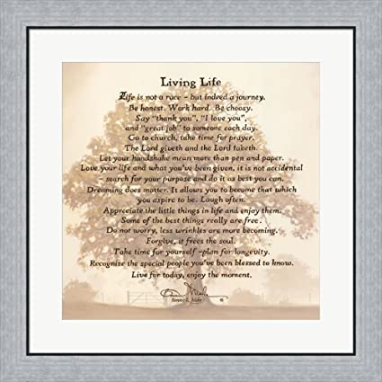 Living Life   Tree Silhouette By Bonnie Mohr Framed Art Print Wall Picture,  Flat Silver