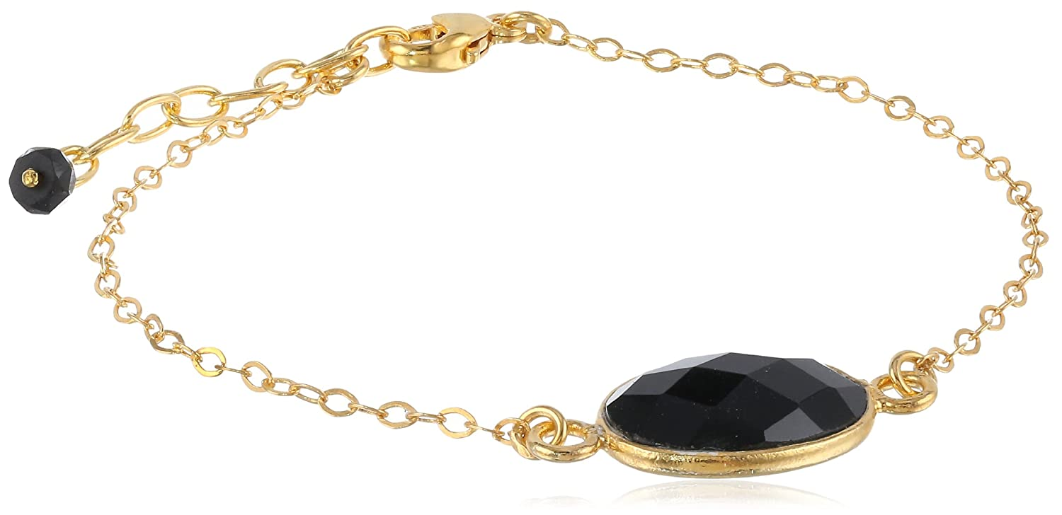 Gold-Plated Sterling Silver Faceted Oval Bezel Bracelet, 7.5""