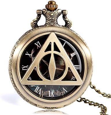 Reloj de bolsillo moderno The Deathly Hallows Lord Volmort, reloj de bolsillo para hombre, reloj de bolsillo de cuarzo de cobre retro, regalo: Amazon.es: Relojes