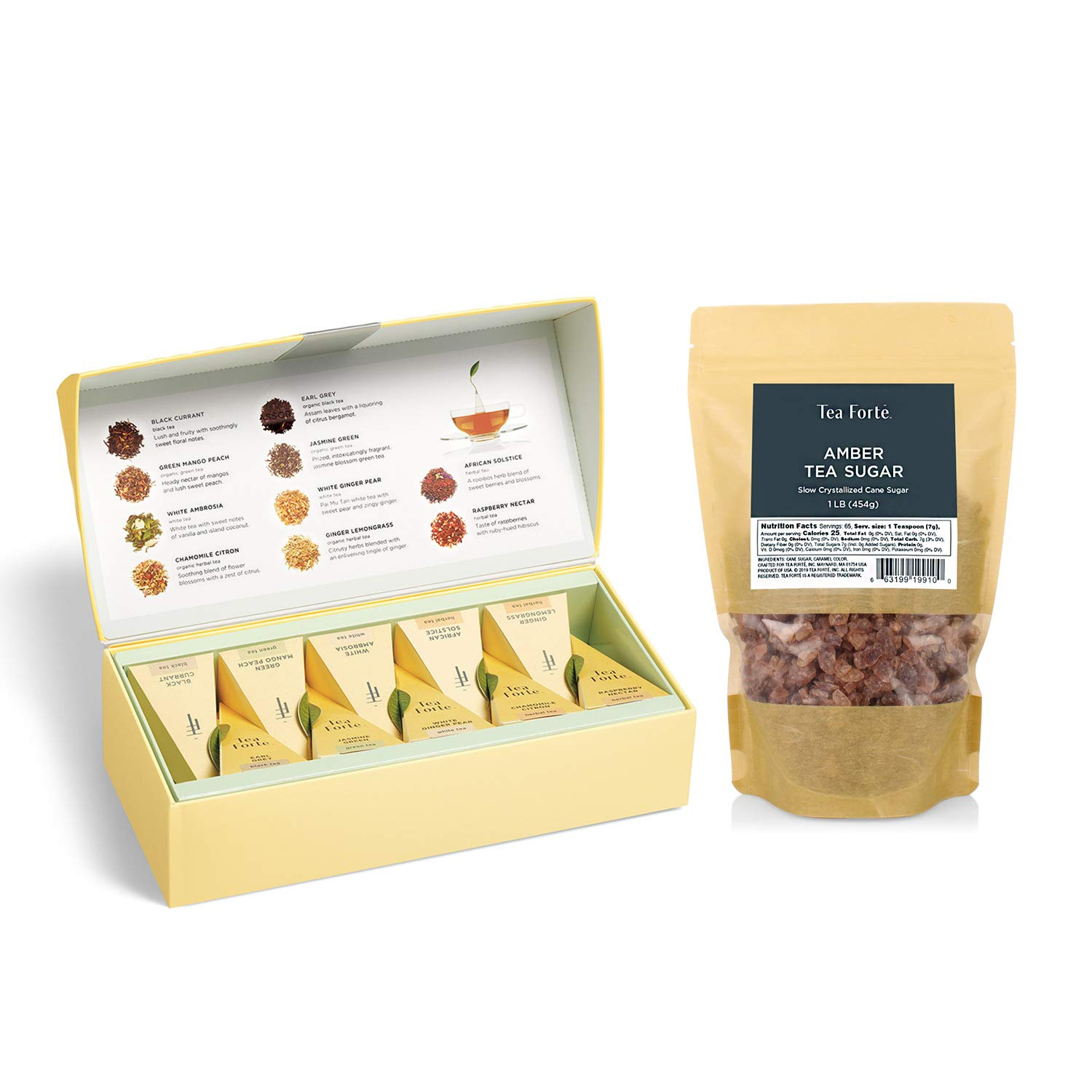 Tea Forte Petite Presentation Box Tea Sampler + Amber Rock Sugar for Tea, 1 Pound Bag