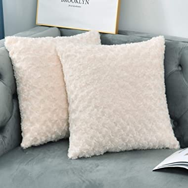 NianEr Square Faux Fur Throw Pillow Covers Set of 2 Soft Solid Fall Winter Decorative Couch Cushion Pillow Cases 20X20 Off White