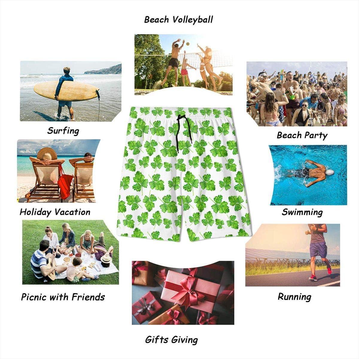 GI80@KU Teen Athletic Beach Shorts Polyester Watercolor Parsley Pattern Board Shorts with Pockets