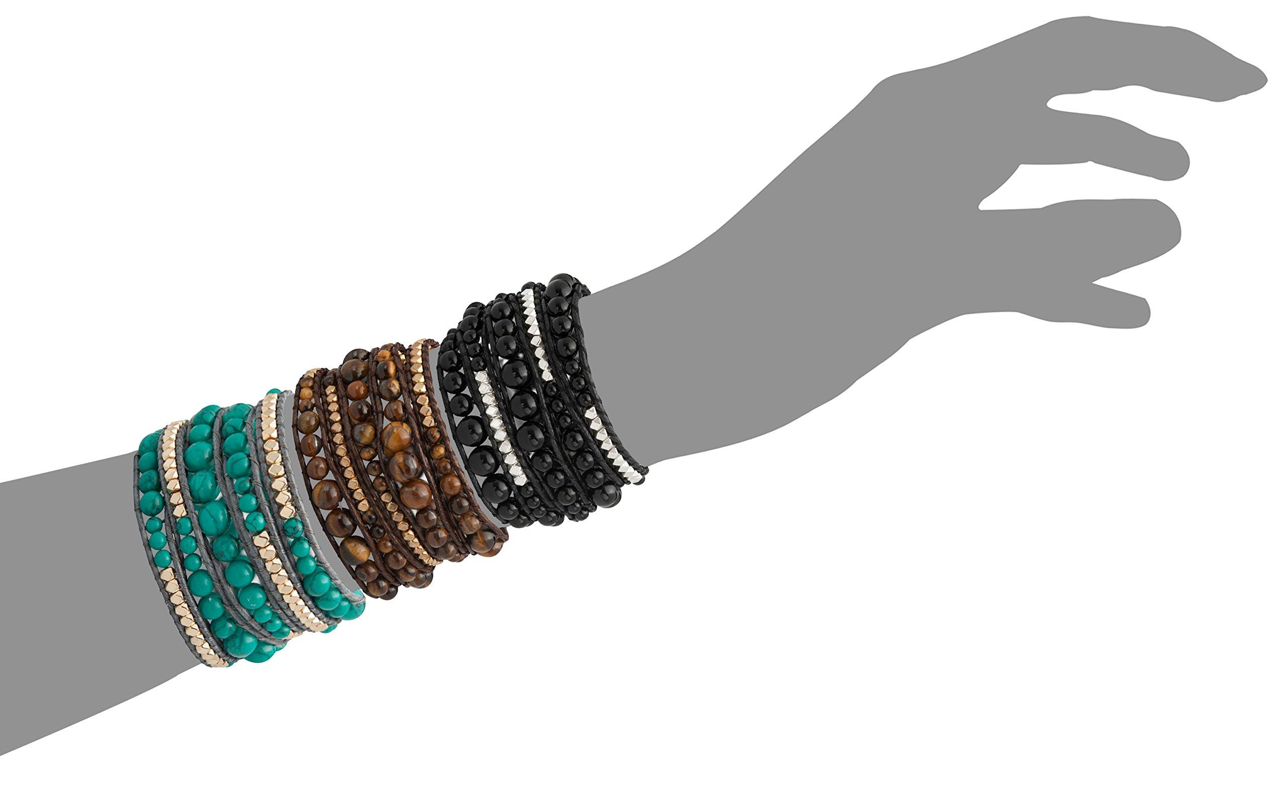 Genuine Stones 5 Wrap Bracelet - Bangle Cuff Rope With Beads - Unisex - Free Size Adjustable (Turquoise) by Sun Life Style (Image #7)