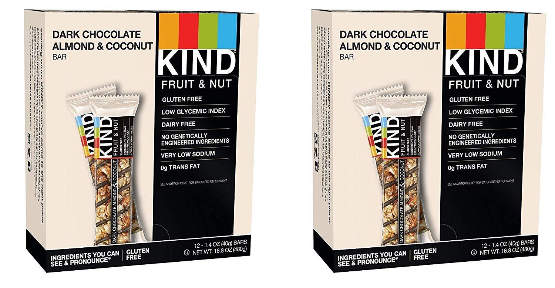 KIND Bars, Dark Chocolate Almond Coconut, Gluten Free, 1.4 Ounce Bars, 24 Bars