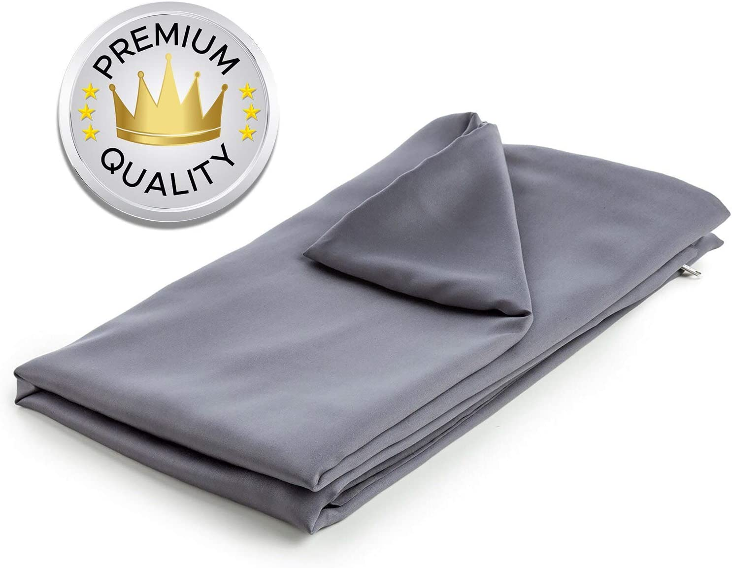 Snuggle Pro Duvet Cover for Weighted Blanket - 60 x 80 Inches Queen Size - 100% Oeko-Tex Certified Cooling Bamboo - Removable and Machine Washable - Grey