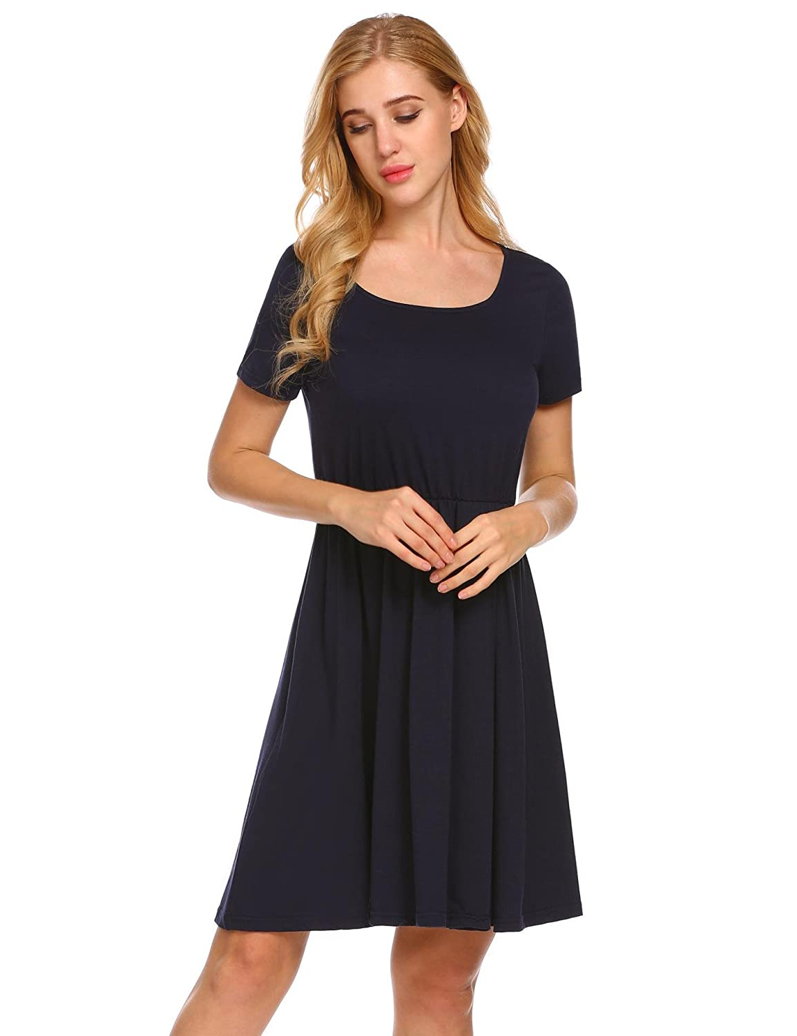 fef8a32f5ed1 pasttry Women's Casual Solid Empire Waist Short Sleeve Above Knee Length  Fit Flare A Line Dress at Amazon Women's Clothing store: