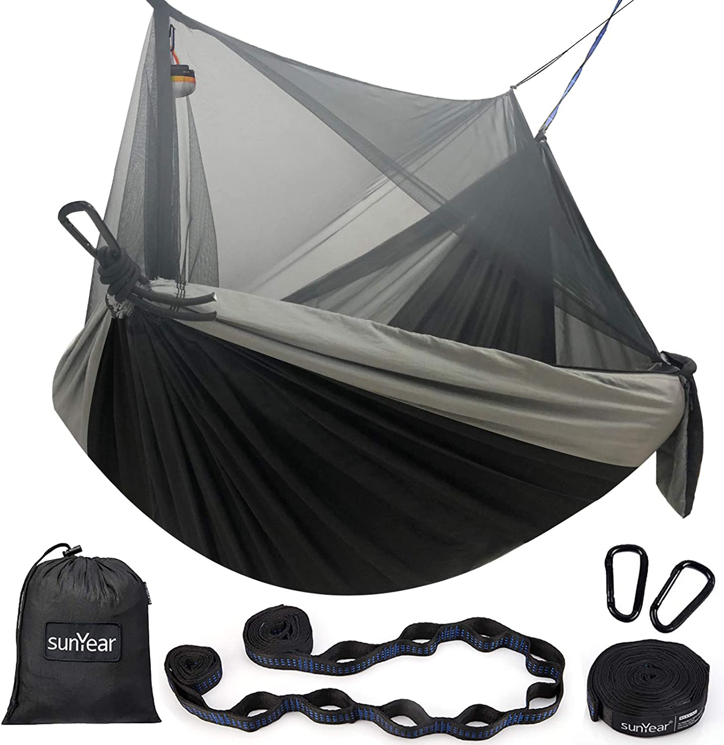Sunyear Hammock Camping with Net//Netting /& 2 Tree Straps Portable Nylon Parachute Hammocks for Outdoor Indoor Backpacking Survival /& Travel 16+1 Loops Each,20Ft Total