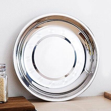 Plato de acero inoxidable para cena, plato plano, bandejas de desorden, ideal para