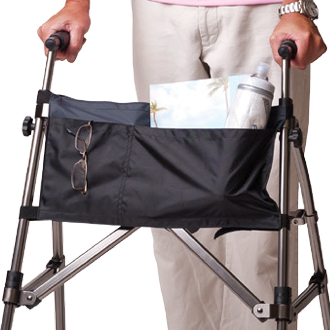 Stander Walker Replacement Organizer Pouch - Removable Nylon 2-Pocket Pouch with Velcro Straps, For Stander EZ Fold N' Go Walker, Able Life Space Saver Walker