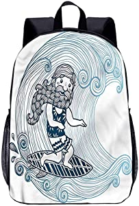 "Wave 17"" School Backpack,Doodle Surfer with Long Beard Book Bag for Kids"