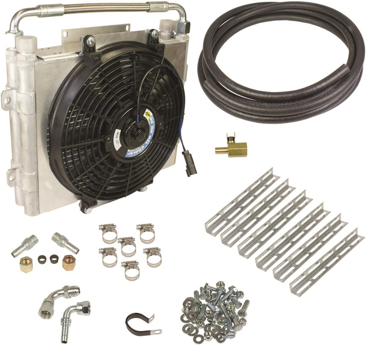 BD Diesel 1030606-DS-58 Xtrude Double Stacked Auxiliary Transmission Cooler Kit 5/8 in. Tubing Incl. Cooler/Bracket/Wiring Harness/Fittings/Temp Sensor/Sensor Adapter/Hardware Xtrude Double Stacked Auxiliary Transmission Cooler Kit