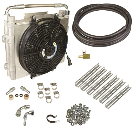 BD Diesel 1030606-DS-12 Xtrude Double Stacked Auxiliary Transmission Cooler  Kit 1/2 in  Tubing Incl  Cooler/Bracket/Wiring Harness/Fittings/Temp