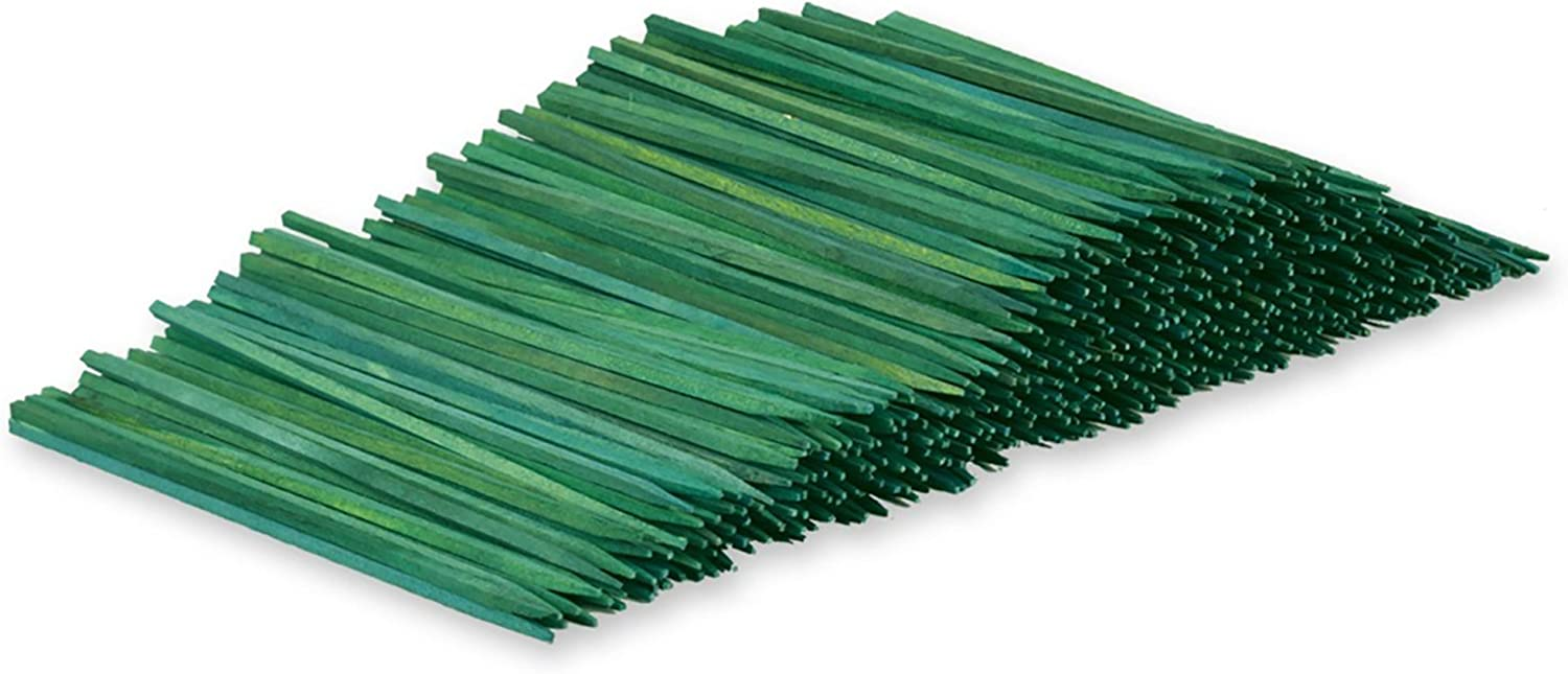 Wooden Floral Plant Support Craft Picks Green Wood Stakes 100 Count w/ Flower Crafting eGuide (6 Inch)