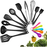 Silicone Kitchen Utensil Set, Evantek 10 Piece Kitchen Tool Set, Cooking Utensils Set, Non-Stick Heat Resistant for Baking BBQ with Solid Core (black)
