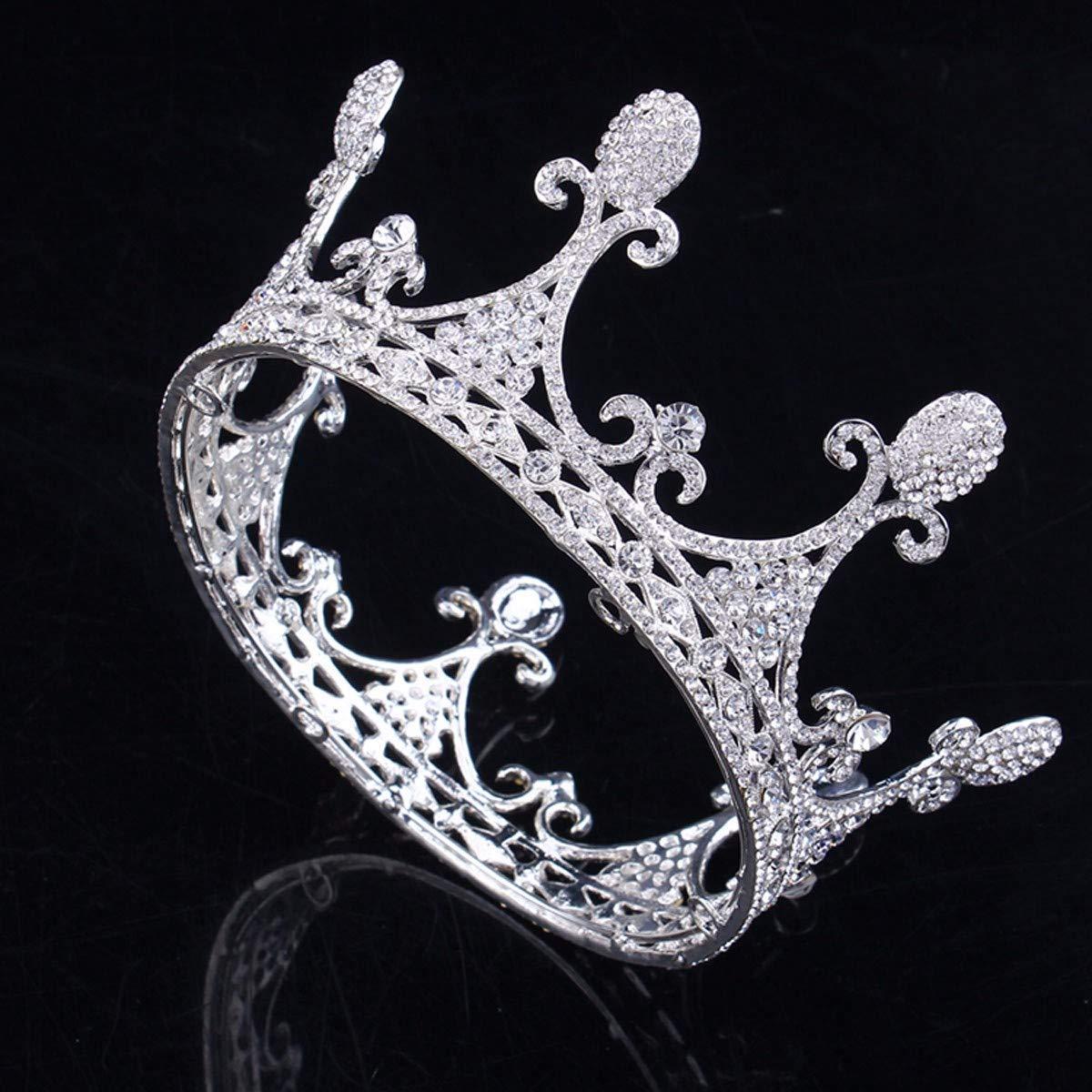 Girls Crown, Beautiful headdress/Bridal Headwear Round Crown Ornaments Wedding Dress Accessories Sweet Master Wedding Accessories Diamond Crown (Color : B) by Zehaer (Image #1)
