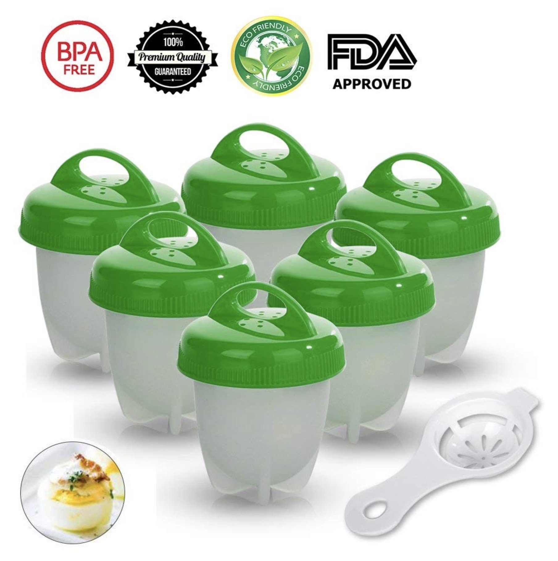 Silicone Egg Cooker, As Seen on TV, Hard and Soft without Shell Egg Boil, BPA free, 6 pack (Green)