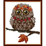 Cross Stitch Kits, Awesocrafts Owl Orange Leaf Cute Bird Autumn Easy Patterns Cross Stitching Embroidery Kit Supplies Christm