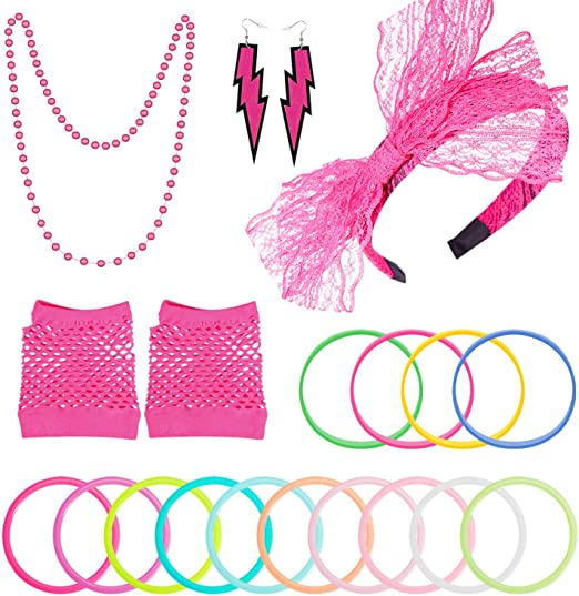 PAXCOO Womens 80s Outfit Costume Accessories Set Neon Headband Earrings Fishnet Gloves Leg Warmers Necklace Bracelet
