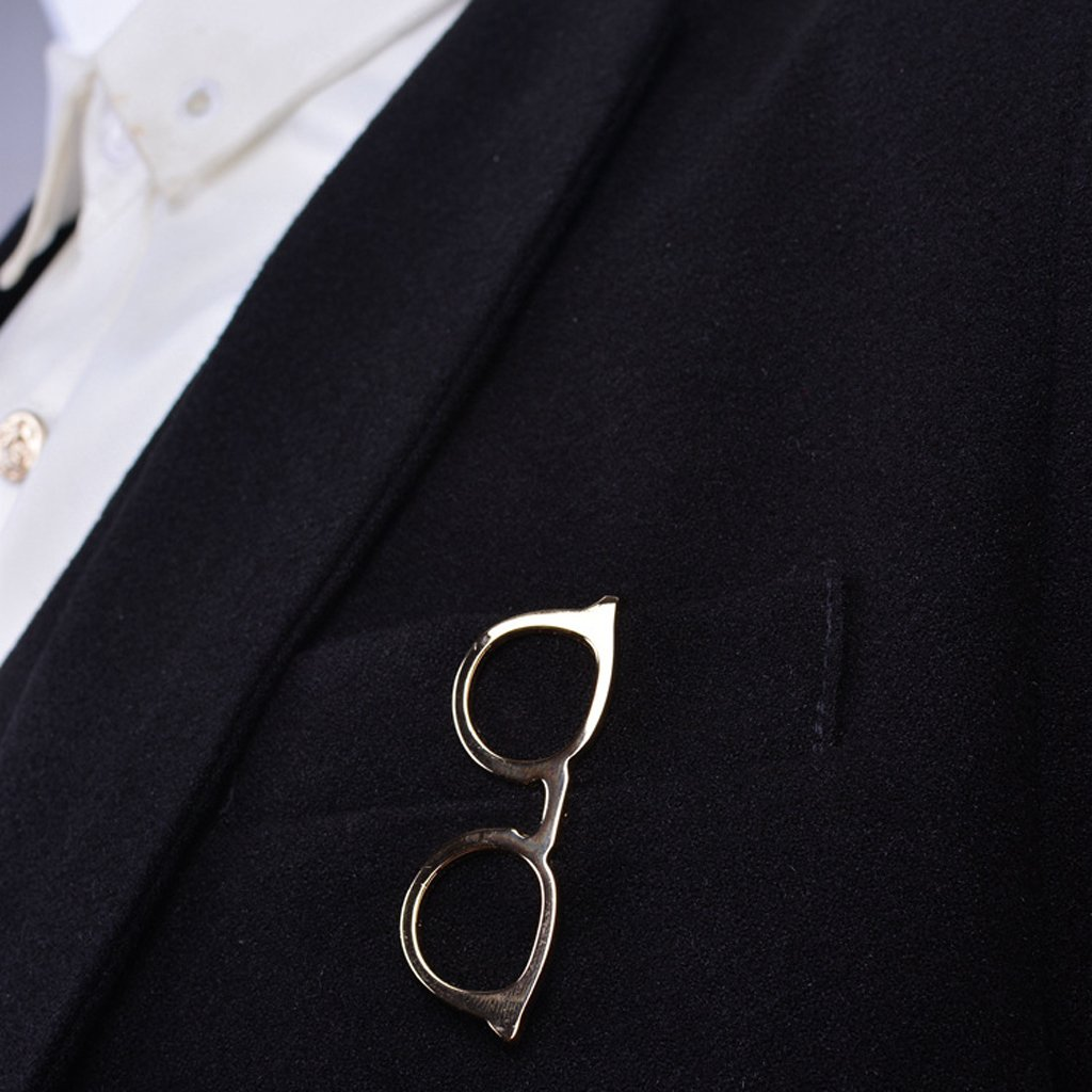 LANDUM 1 Piece Tie Clip for Mens, Men Glasses Tie Bars Pin Clasp for Wedding Business Suit Tie Gift Accessories - Gold by LANDUM (Image #5)