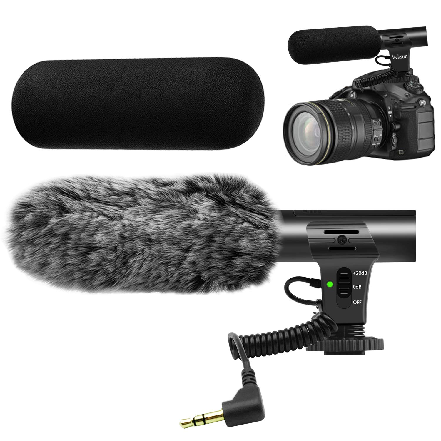 Camera Microphone,Veksun Video Microphone for DSLR Interview Shotgun Mic for Canon Nikon Sony Panasonic Fuji Videomic with Windscreen 3.5mm Jack