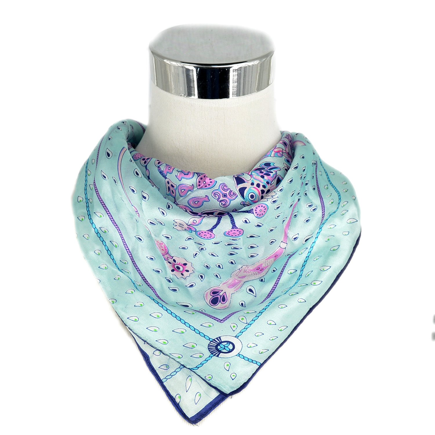 Fashion Small Square Scarf for Women Polka Dot 100/% Silk Ideal Gift Sky Blue