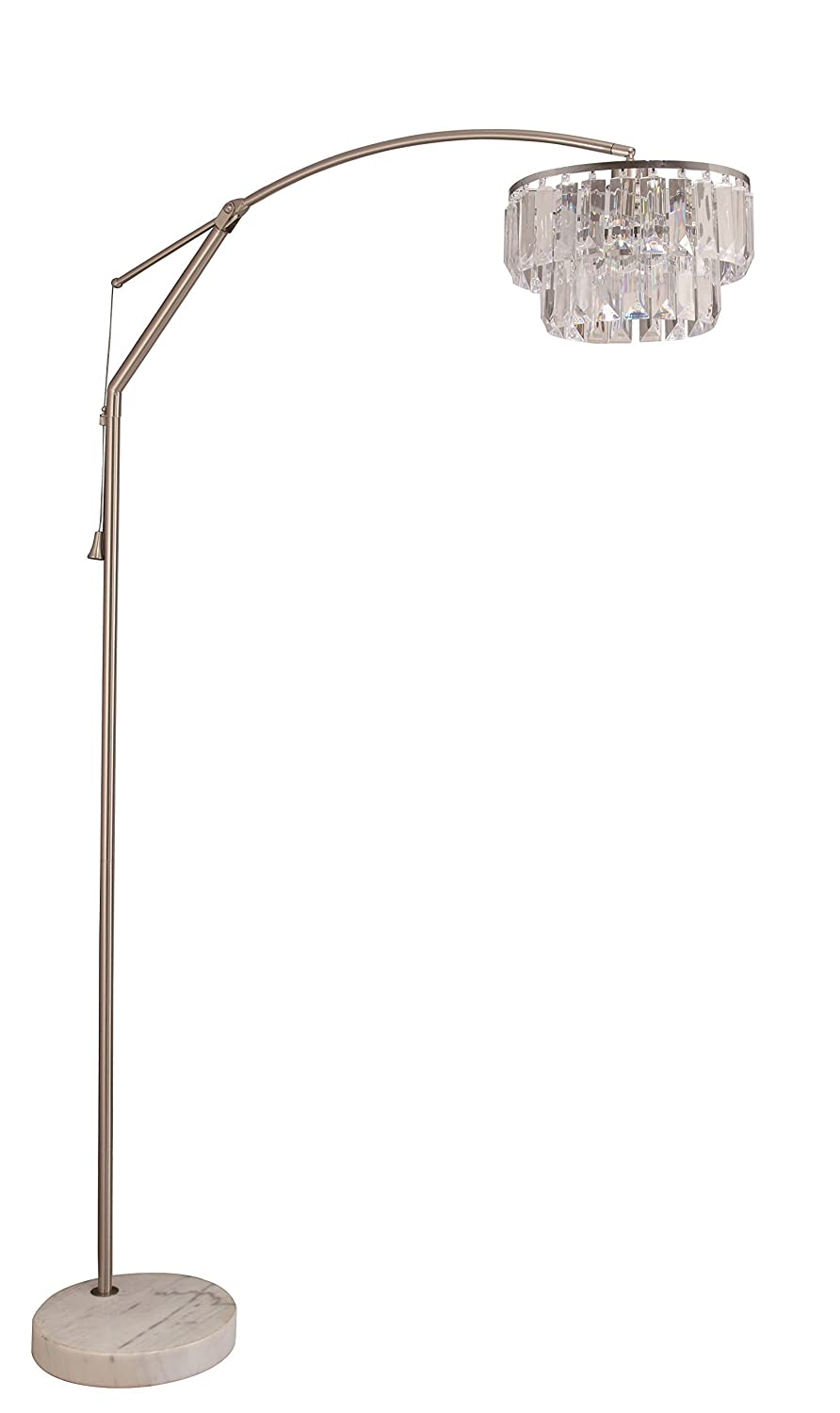 SH Lighting 81 H Steel Adjustable Arching Floor Lamp with Marble Base, 6933CY