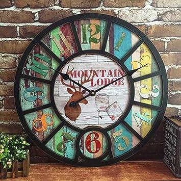 COCO American Style Ländliche Wanduhr Wohnzimmer Bar Cafe Persönlichkeit  Industrielle Winde Große Nostalgische Retro Uhren Und