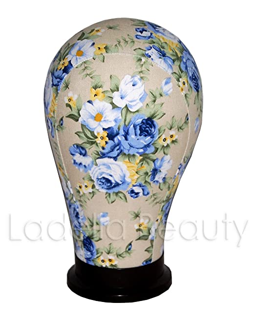 Blue Floral Wig Head