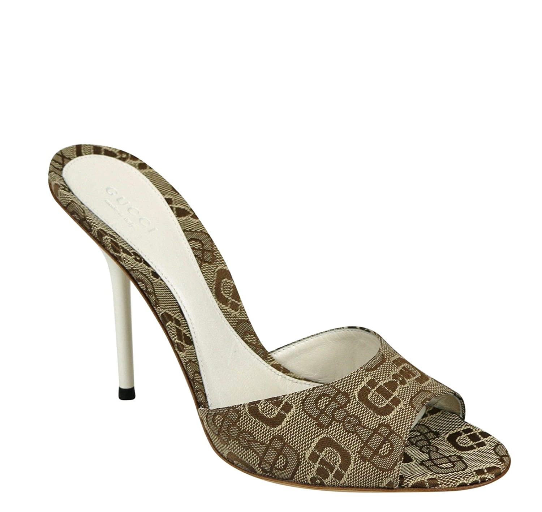 b1dc20b6982 Amazon.com  Gucci Beige White Horsebit Canvas Slides Sandal 317048 9742   Shoes