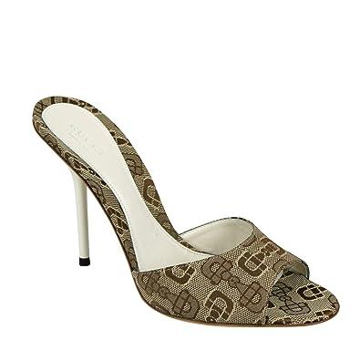 73fbce8c2cd Gucci Beige White Horsebit Canvas Slides Sandal 317048 9742 (G 37   US 7