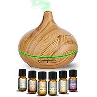 MEVA 300 ml difusor aceite esencial aromaterapia con 6 esencias de REGALO, SUPER SILENCIOSO, VAPOR FRIO, 7 colores LED, humificador de aceite esencial, Apagado automático