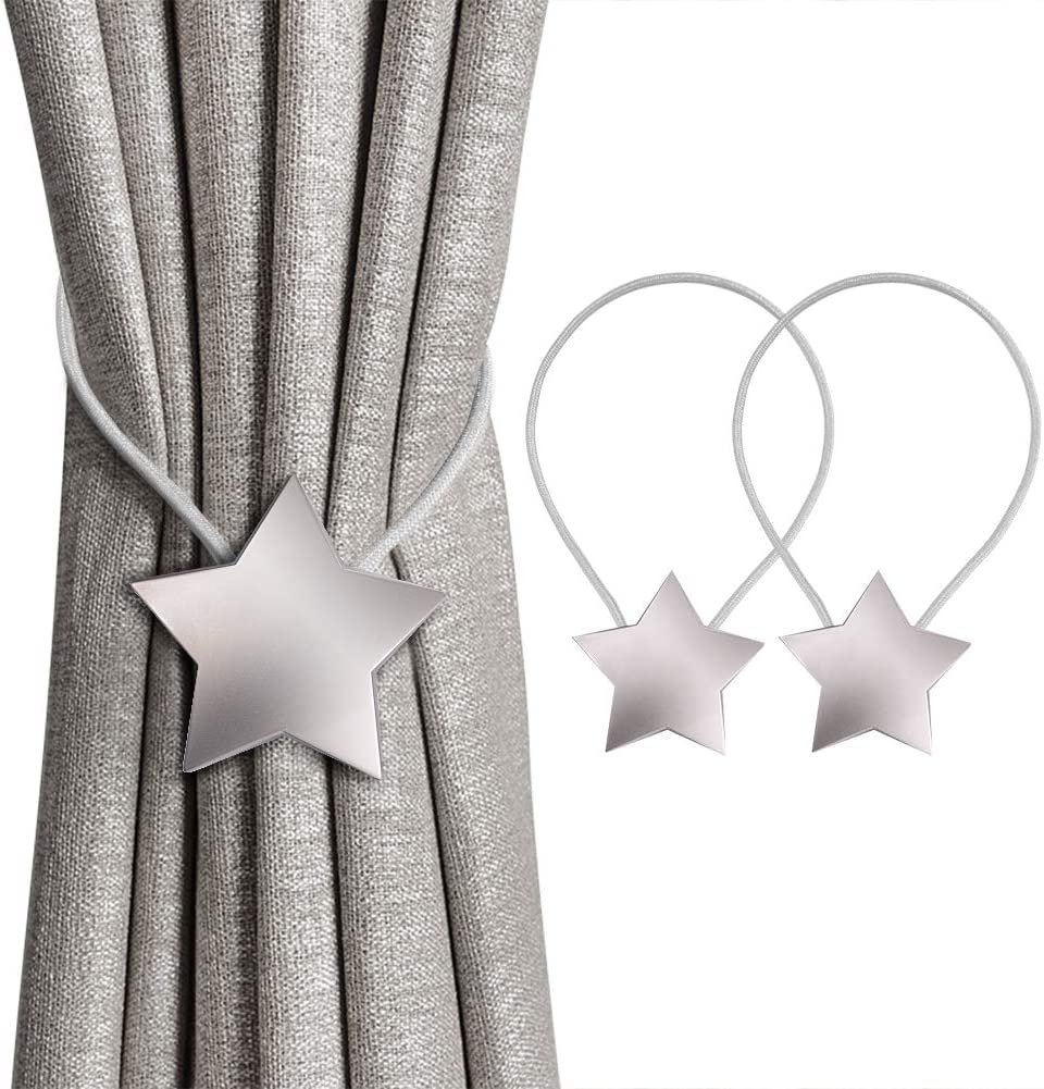 Inhdbox Magnetic Curtain Tiebacks Magnetic Star Curtain Tiebacks Curtain Clips Rope Holdbacks Curtain Holder Buckles 2pc With Strong Durable Magnet For Home Office Dorm Amazon Co Uk Kitchen Home