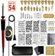 SthAbt - 54pcs Wood Burning Kit Set Adjustable Temperature Pyrography Pen Leather Stamping Art with Carving Embossing Soldering Tips Stencil for Beginner and Professionals
