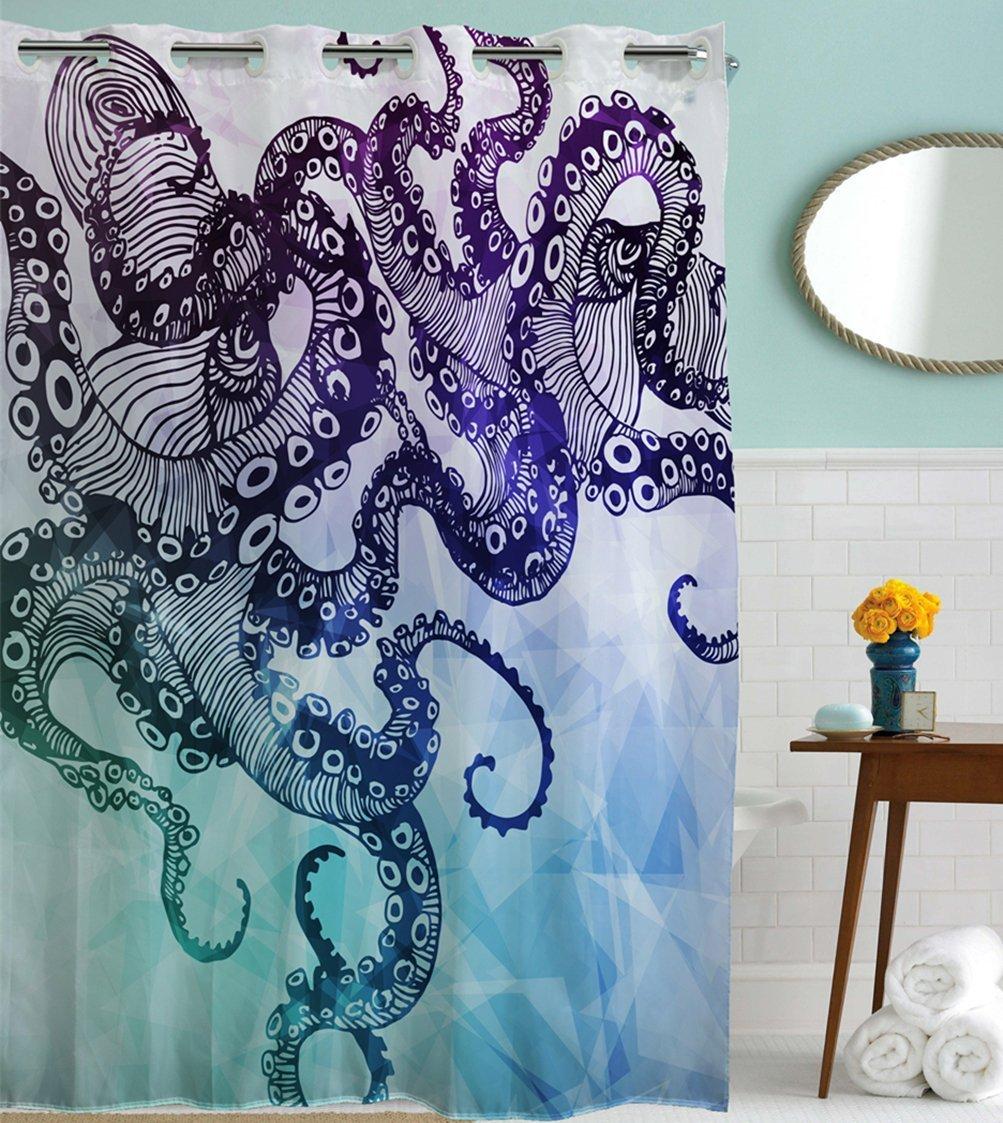 Kraken shower curtain - Amazon Com Goodbath Hookless Shower Curtain Ocean Kraken Octopus Hipster Pattern Mold Free And Waterproof Fabric Bathroom Shower Curtains