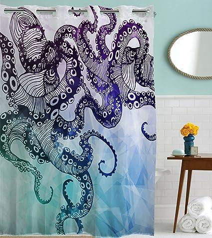 Goodbath Hookless Shower Curtain, Ocean Kraken Octopus Hipster Pattern Mold  Free And Waterproof Fabric Bathroom