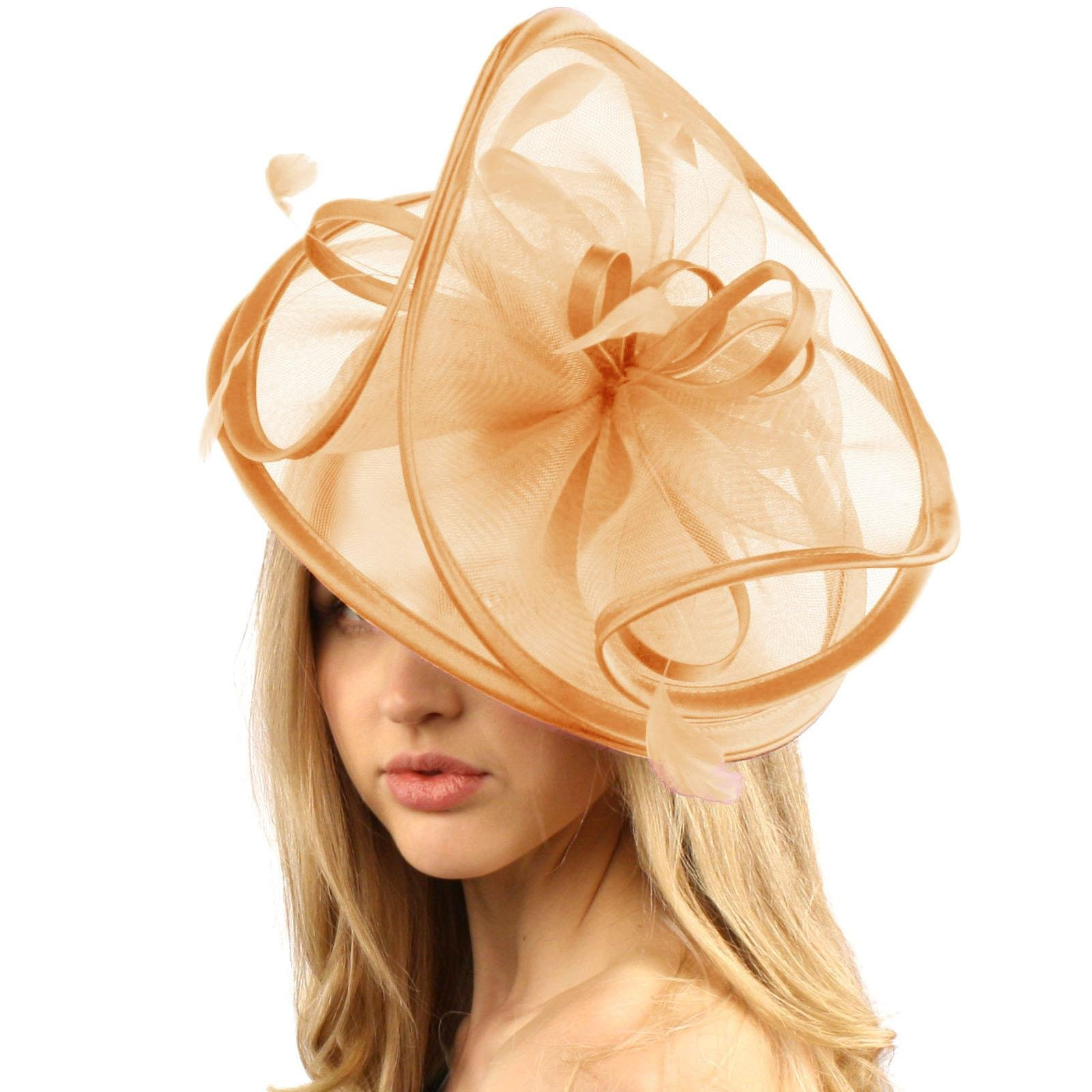 SK Hat shop Feathers 3 Tier Layer 2 Tone Headband Fascinator millinery Cocktail Hat Peach