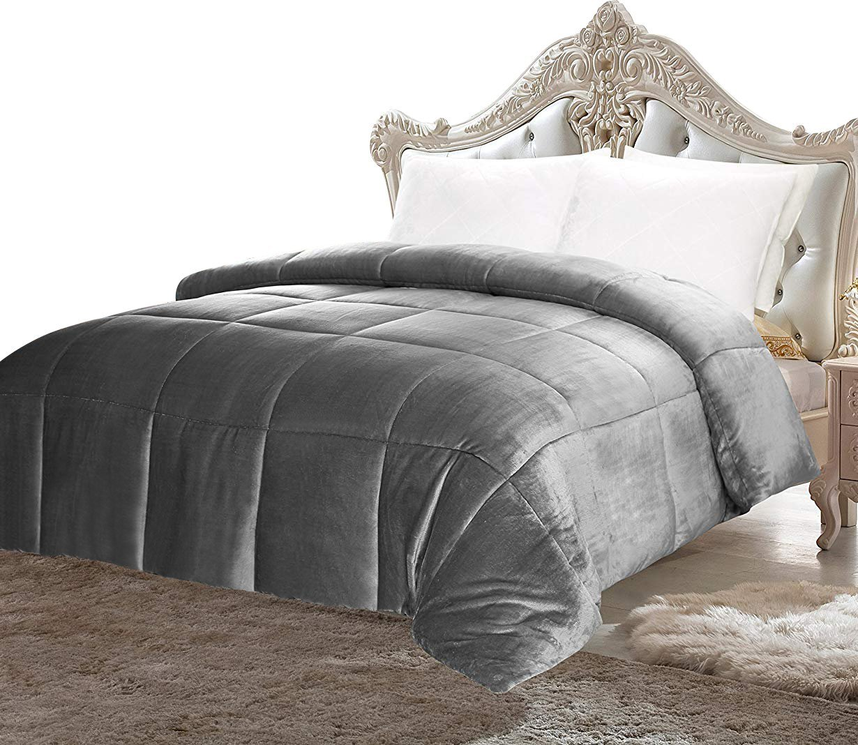 Utopia Bedding Comforter Sherpa Flannel (Queen) - All Season - Machine Washable - Luxury Goose Down Alternative - Reversible - Ultra Soft - Box Stitched