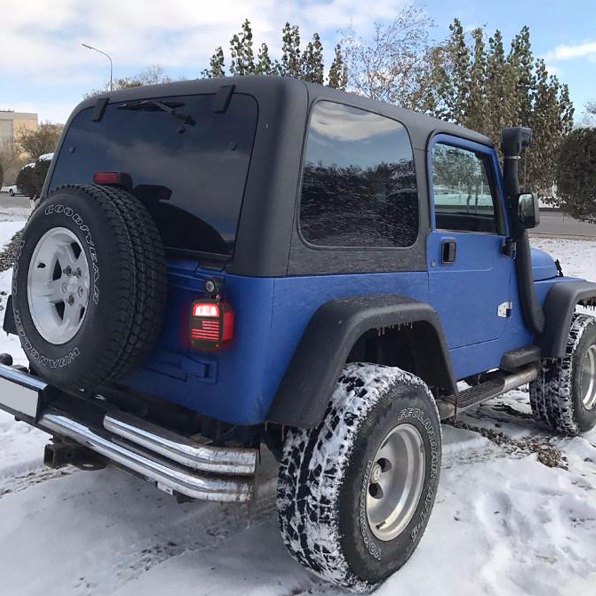 RT-TCZ Aluminum Black Rear Taillights Light Guard Tail Light Cover For 1997-2006 Jeep TJ Wrangler Pair USA Flag