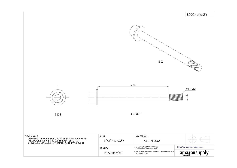 Flange Socket Cap Head 2 Grip Length 0.190 Shoulder Diameter Made in US Aluminum Prairie Bolt Pack of 1 Plain Finish Hex Socket Drive #10-32 Thread Size