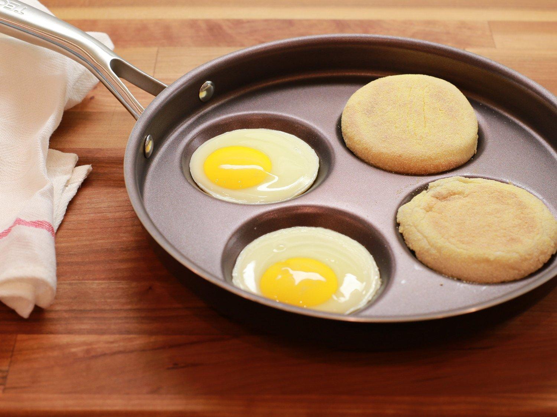 Multi Egg Frying Pan Plett TECHEF ECT26 Eggcelente for Swedish Pancake Made in Korea Crepe New Teflon Select//Non-Stick Coating PFOA Free