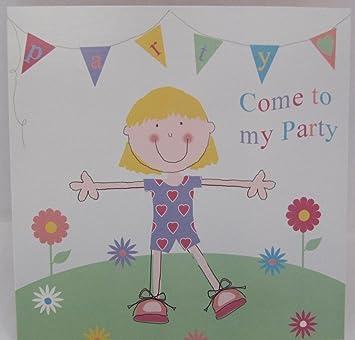 10 Come To My Party Girl Einladungen mit Dress Me Up Aufkleber ...