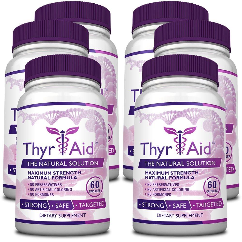 ThyrAid - #1 Thyroid Support - With Iodine, Kelp, Schisandra, Vitamin B12, Selenium, Ashwaghnada. Manage Hypothyroidism Symptoms, Support Adrenal Glands - 100% Money Back - 6 Bottles (6 Months Supply)